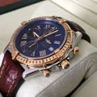 Breitling Crosswind Gold Steel Blue Roman Dial Crocostrap 43 mm