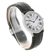 Cartier Ronde Solo Large Stainless Steel Black Leather Watch...