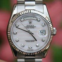 Rolex Mens 18k White Gold President 118239 All  Diamond Mother...