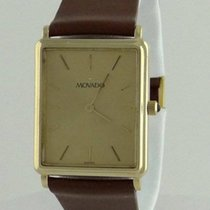 Movado Mens Movado 14k Yellow Gold Rectangle Brown Leather...
