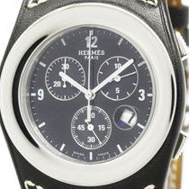Hermès Polished Hermes Harnais Chronograph Steel Quartz Mwns...
