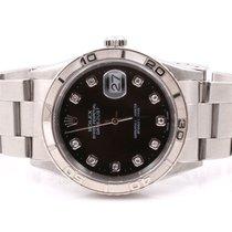 Rolex Mens Thunderbird Datejust - Factory Black Diamond Dial -...