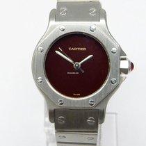 Cartier Santos Ronde Edelstahl Automatik Damenuhr Rotes ZB