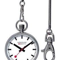 Mondaine EVO Pocket Watch - Stainless Steel - Chain - Red...
