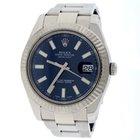 Rolex Datejust II White Gold Bezel 41mm Blue Dial Watch 116334