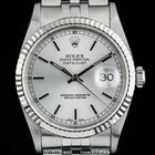 Rolex Stainless Steel O/Perpetual Silver Baton Dial Datejust...