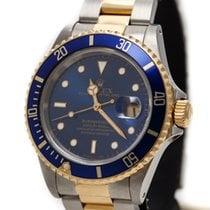 Rolex Oyster Perpetual DATE SUBMARINER  Blue Dial+ Bezel 18KA...