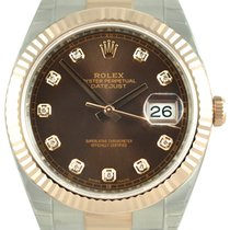Rolex Datejust 41 Chocolate Dial Diamonds Fluted Oyster SS/RG...