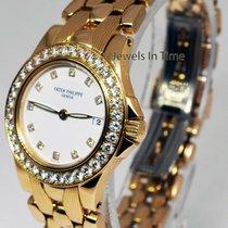 Patek Philippe Neptune 18K Yellow Gold Diamond Quartz Ladies...