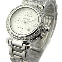 Cartier WJ1116M9 Pasha 32mm with Factory Diamond Bezel - White...