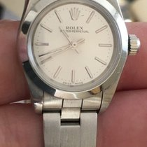 Rolex Ladies Stainless Oyster Perpetual Silver Index Dial...