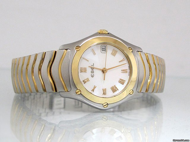 Ebel Classic Wave, Edelstahl/Gold, Datum