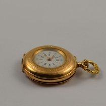 Damen Taschenuhr 18k 750 Massiv Gold 30mm Durchmesser Handaufzug