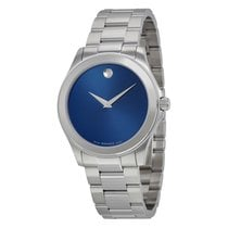 Movado Junior Sport Blue Dial Stainless Steel Mens Watch 0606116