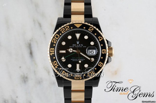Rolex Two-Tone Black Coated DLC/PVD Ceramic Bezel GMT Master II