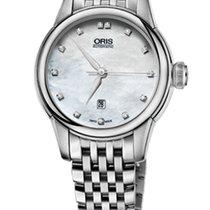 Oris Artelier Date Diamonds Steel Nacre