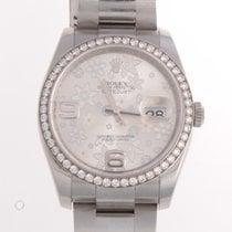 Rolex SS Datejust Floral Dial Original Diamond Bezel