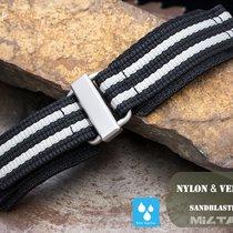 MiLTAT 22mm Velcro Fastener Watch Strap,Black & White BL