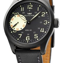 Glycine KMU 48 Black PVD Steel Manual Wind Mens Watch Limited...