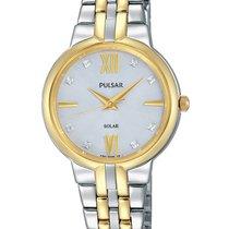 Pulsar Womens Solar Dress Watch - Two-Tone - Crystal -...