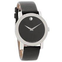 Movado Sapphire Mens Black Leather Strap Quartz Watch 0605061