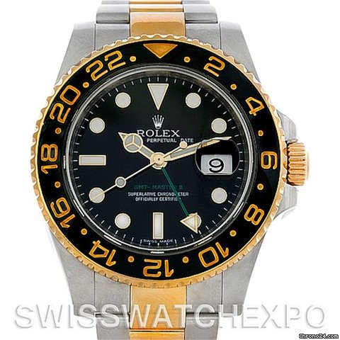 Rolex Gmt Master Ii Men's 18k Gold Steel Watch 116713