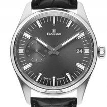 Damasko DK105 Stahl Handaufzug Armband Leder Faltschließe 42mm...