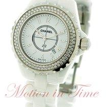 Chanel J12 33mm Quartz, White Dial, Diamond Bezel - White...