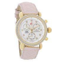Michele CSX Diamond MOP Swiss Chronograph Pink Leather Quartz...
