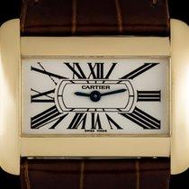 Cartier 18k Yellow Gold Silver Roman Dial Divan Mid-Size...