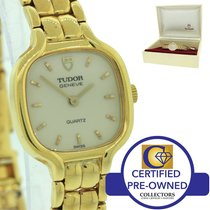 Tudor Ladies Solid 18k Gold Quartz 19mm Dress Watch with Box