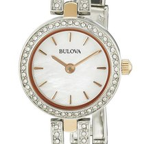 Bulova Crystals Stainless Steel & Rose Gold Plated Womens...