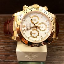 Rolex Cosmograph Daytona Yellow Gold / Leather White Dial 116518