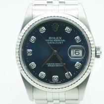 Rolex Datejust 36mm FACTORY DIAMONDS  White Gold Bezel / Steel