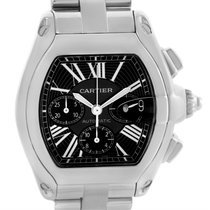 Cartier Roadster Chronograph Black Dial Steel Mens Watch W62020x6