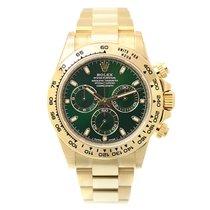 Rolex Cosmograph Daytona 18 K Yellow Gold Green Automatic...