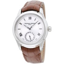 Frederique Constant Silver Dial Leather Strap Men's Watch...
