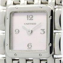 Cartier Polished Cartier Ruban Pink Mop Dial Steel Quartz...