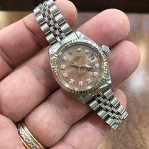 Rolex Datejust Ladies 18KW Bezel/SS Watch 26mm Diamond Dial