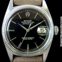 Rolex Vintage Datejust 6605 18k White Gold Black Gilt Dial 1957