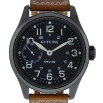 Glycine Kmu 48 Black Pvd Case With Black Dial On Calfskin...