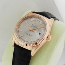 Rolex Day Date 36mm 118135 18k Rose Gold Silver Dial NEW