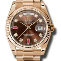 Rolex DAY DATE ROSE GOLD CHOCO 8 DIAMONDS 2 BAGUETTE RUBIES