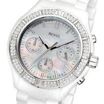 Hugo Boss White Ceramic Chronograph Damenuhr Keramik weiß