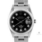 Rolex Datejust Stainless Steel Black Diamond Dial Fluted Bezel...