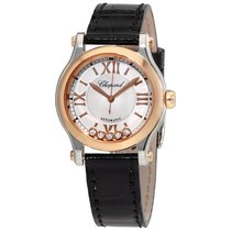 Chopard Happy Sport Silver-Tone Dial Black Leather Strap...