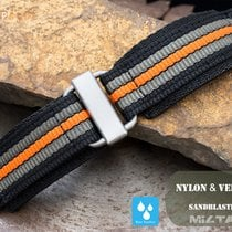 MiLTAT 22mm Velcro Fastener Watch Strap, Black Orange BL