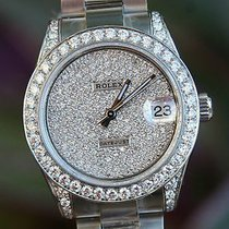 Rolex Mens Ladies Midsize 31mm Datejust Steel Diamond Lugs...
