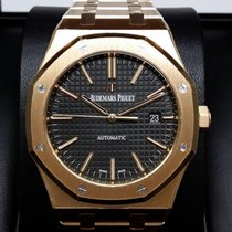 Audemars Piguet 15400OR Royal Oak 18K Pink Rose Gold Black...