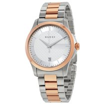 Gucci G-Timeless Silver Dial Two-tone Ladies Watch YA126447